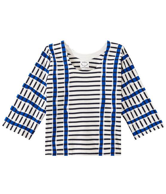 Marinière kimono pour femme blanc Marshmallow / bleu Smoking