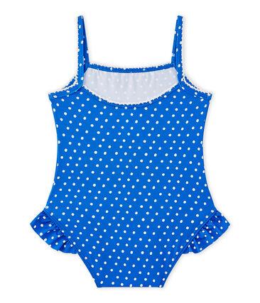 Maillot de bain bébé fille à pois bleu Perse / blanc Marshmallow