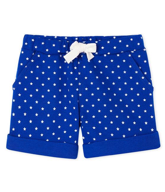 Short bébé garçon imprimé bleu Surf / blanc Marshmallow