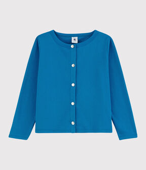 Cardigan en coton enfant fille bleu Mykonos