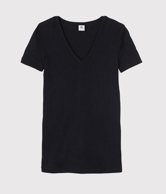 T-shirt col V iconique en coton Femme noir Noir