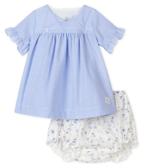 Robe à rayures avec bloomer fleuri bébé fille en popeline blanc Marshmallow / blanc Multico