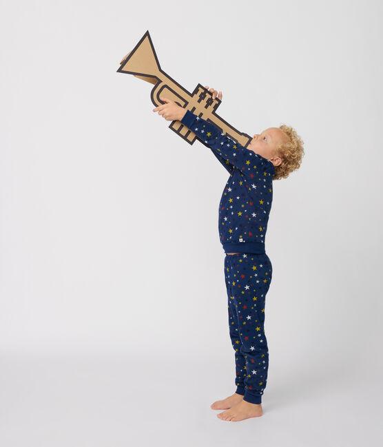 Pyjama enfant à motifs étoiles en molleton bleu Medieval / blanc Multico