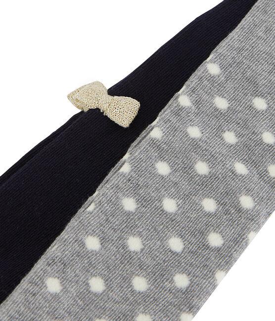 Lot de 2 paires de collants bébé fille gris Subway / bleu Smoking