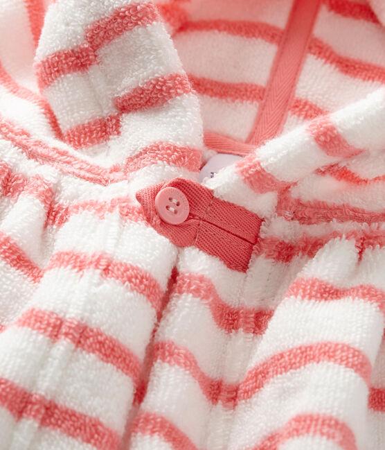 Cape de bain bébé rayée blanc Lait / rose Merveille