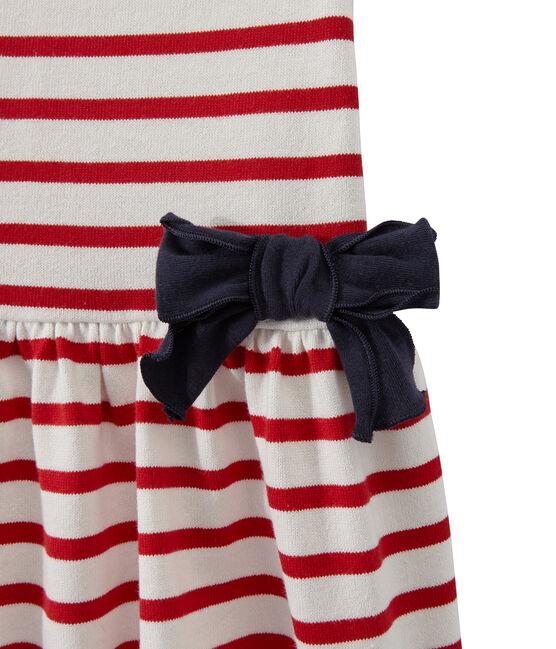 Robe fille rayée blanc Marshmallow / rouge Terkuit