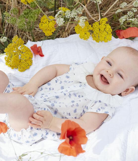 Combicourt bébé fille en popeline blanc Marshmallow / blanc Multico