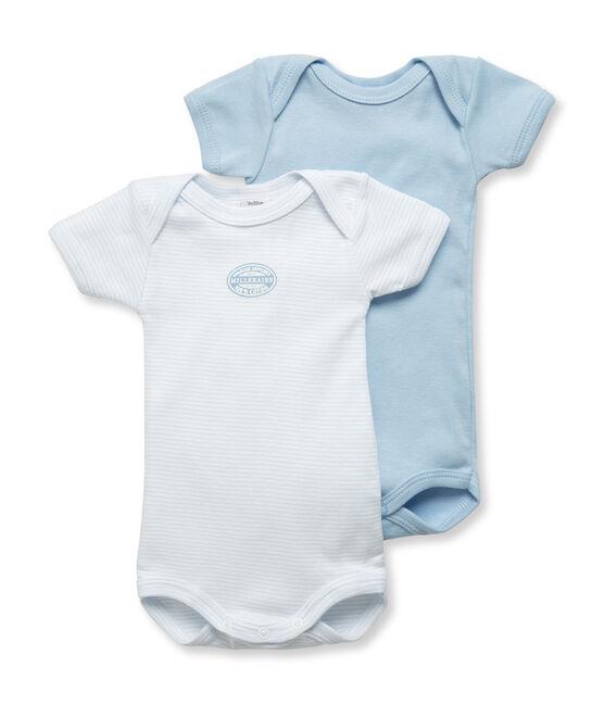 Lot de 2 bodies bébé garçon manches courtes uni/milleraies lot .