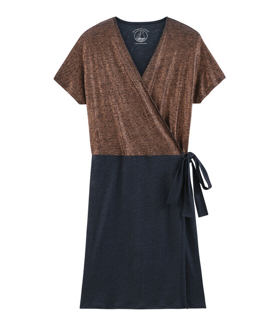 Robe manches courtes femme en lin naturel irisé bleu Smoking / rose Copper