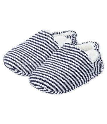 Chaussons bébé en côte bleu Medieval / blanc Marshmallow