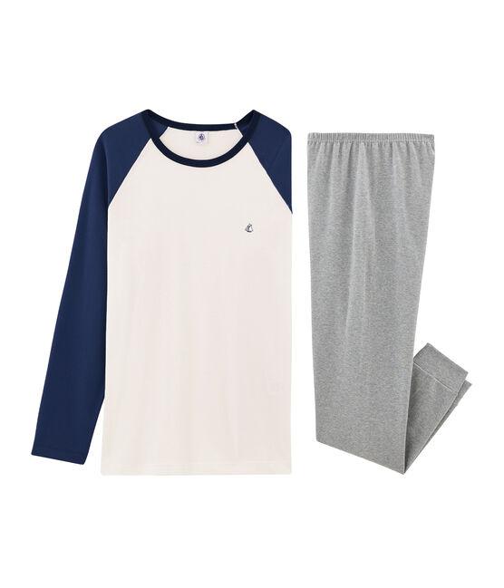 Pyjama garçon en côte gris Subway / blanc Multico