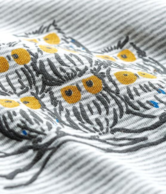 Tee shirt manches longues milleraies bébé garçon gris Subway / blanc Marshmallow