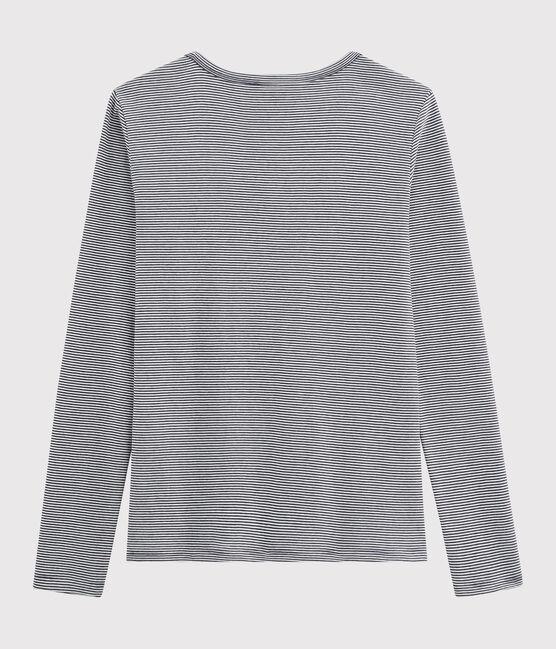 T-shirt iconique col V Femme bleu Smoking / blanc Marshmallow