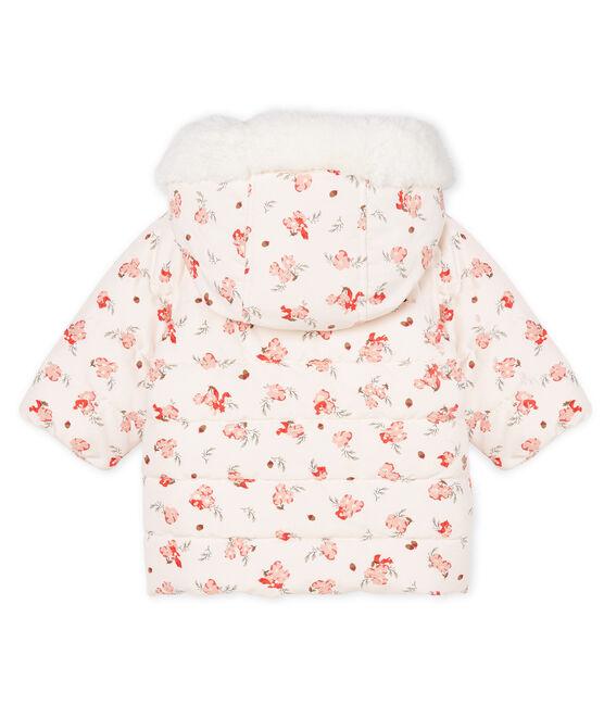 Doudoune bébé fille en microfibre imprimée rose Fleur / blanc Multico