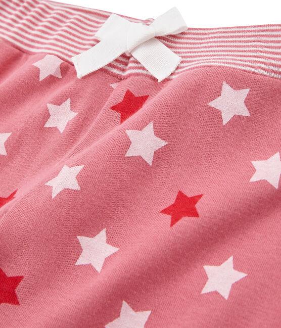 Pantalon de pyjama petite fille rose Cheek / blanc Multico