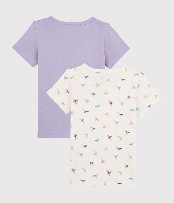 Lot de 2 tee-shirts manches courtes imprimé oiseau petite fille lot .