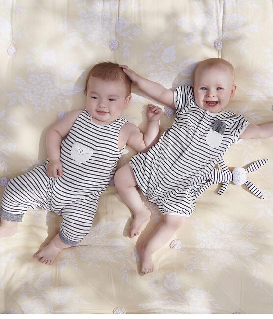 Doudou lapin bébé en jersey blanc Marshmallow / bleu Smoking