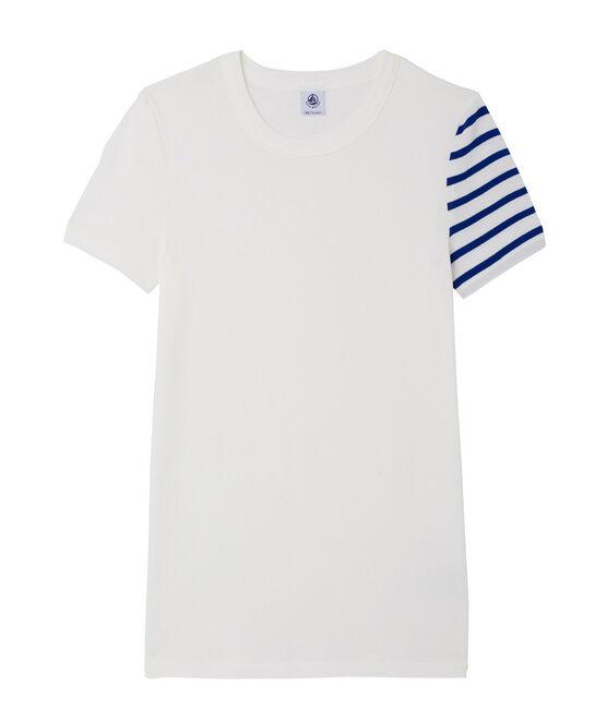 T-shirt femme fantaisie en côte originale blanc Ecume