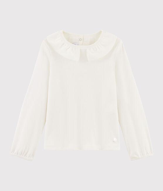 Tee-shirt à col enfant fille blanc Marshmallow