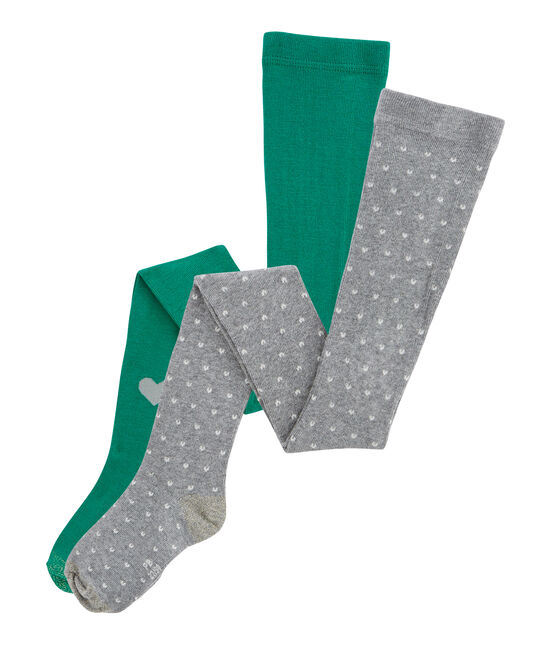 Lot de 2 collants enfant fille gris Subway / vert Ecology
