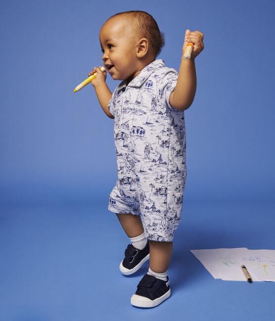 Combinaison courte en molleton imprimé bébé garçon gris Poussiere / bleu Smoking