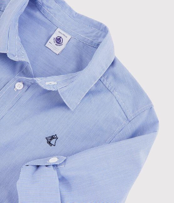 Chemise manches longues en popeline enfant garçon bleu Bleu / blanc Blanc
