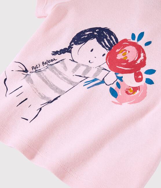 Tee-shirt manches courtes bébé fille rose Minois