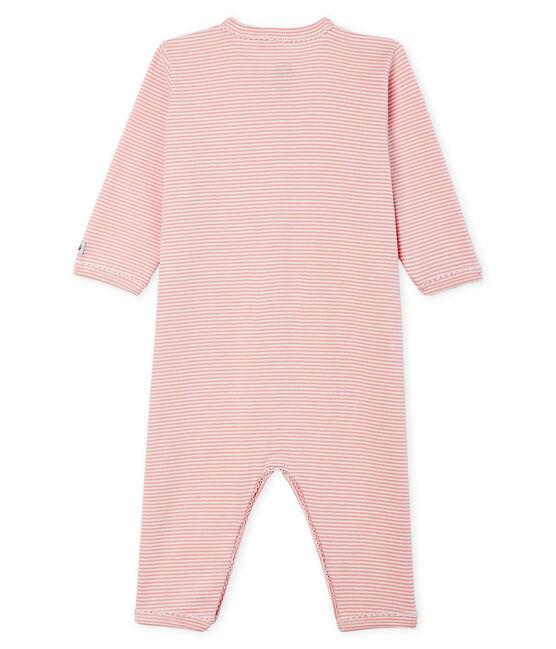 Dors bien sans pieds bébé fille en côte rose Charme / blanc Marshmallow