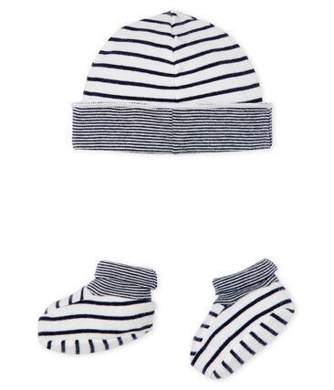 Lot bonnet et chaussons bébé garçon en côte