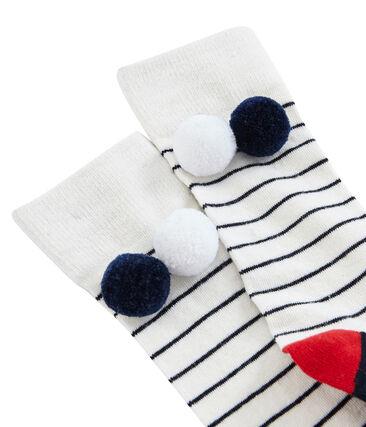 Chaussette haute enfant fille blanc Marshmallow / bleu Smoking