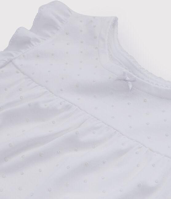 Chemise de nuit blanche petite fille en coton fin blanc Ecume