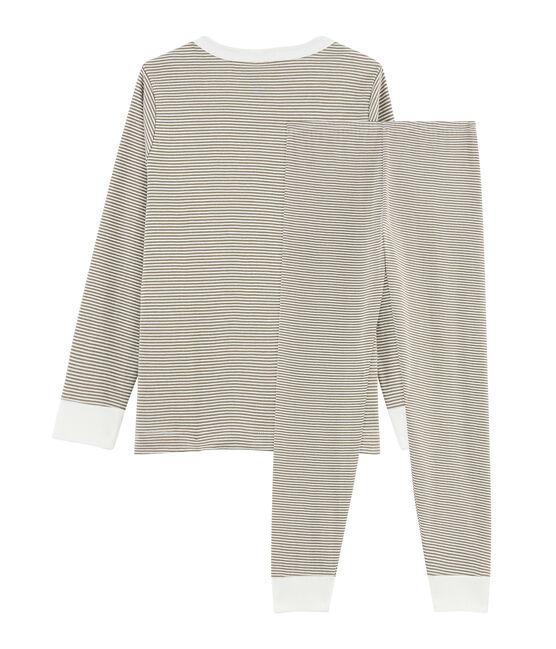 Pyjama petit garçon en côte vert Litop / blanc Lait