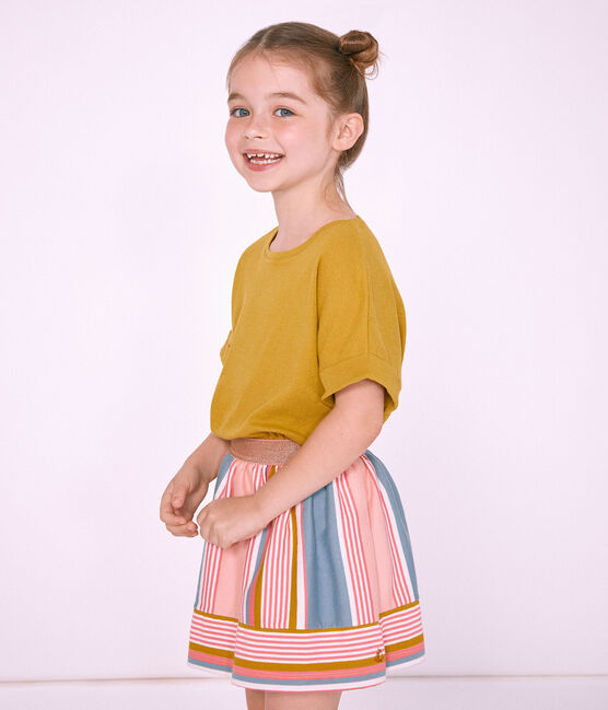 Tee-shirt à manches courtes enfant fille jaune Bamboo