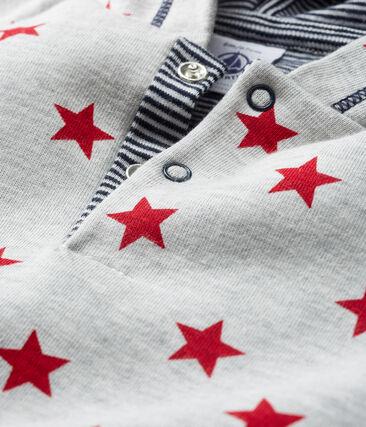 Sweatshirt à capuche bébé garçon en maille imprimée gris Beluga / rouge Terkuit