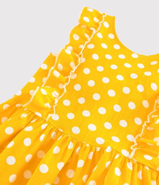 Robe manches courtes en lin enfant fille jaune Shine / blanc Marshmallow
