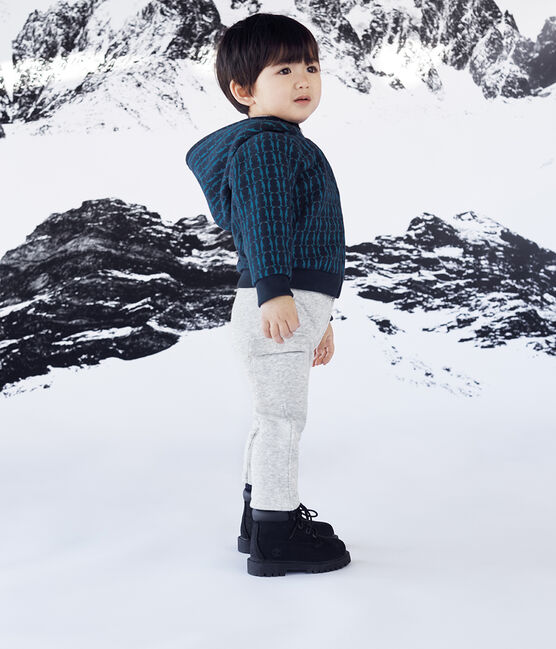 Pantalon bébé garçon en maille velours gris Beluga