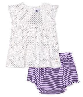 Ensemble deux pièces bébé fille violet Real / blanc Marshmallow