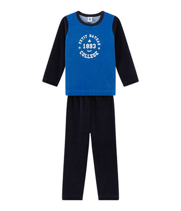 Pyjama garçon en velours à motif collège