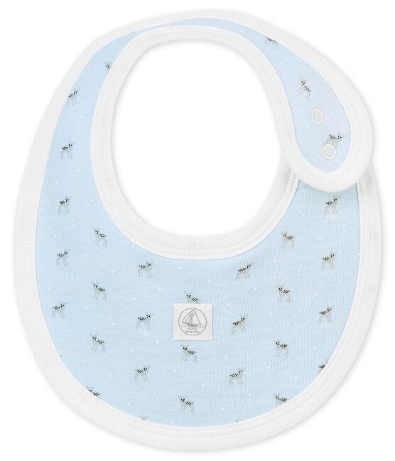 Bavoir bébé mixte en tubique imprimé bleu Fraicheur / blanc Multico