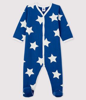 Dors-bien bleu à étoiles bébé en molleton bleu Major / blanc Ecume