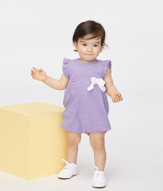 Combicourt bébé fille milleraies violet Real / blanc Marshmallow