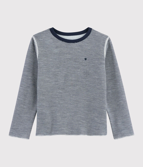 Tee-shirt réversible enfant garçon bleu Smoking / blanc Marshmallow