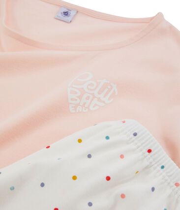 Pyjacourt fille en côte rose Minois / blanc Multico
