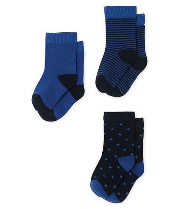 Lot de 3 paires de chaussettes bébé garçon bleu Smoking / bleu Limoges