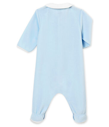 Dors bien bébé garçon en velours de coton uni bleu Fraicheur