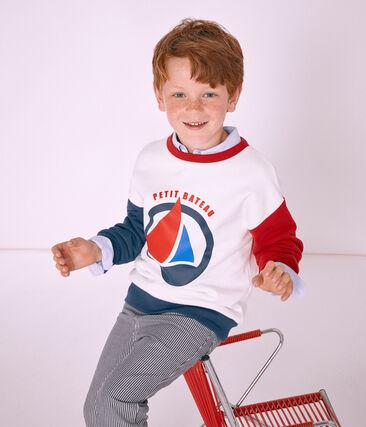 Sweatshirt enfant garçon blanc Marshmallow / blanc Multico