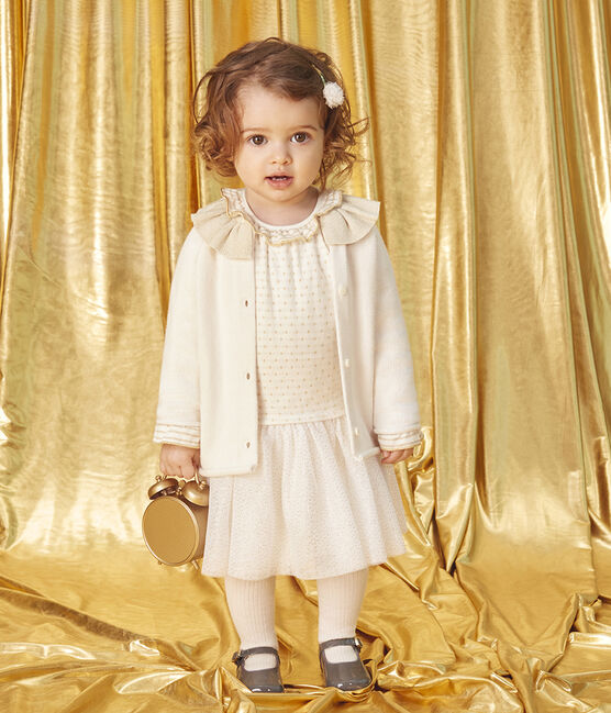 Robe manches longues bi-matière bébé fille blanc Marshmallow / jaune Or