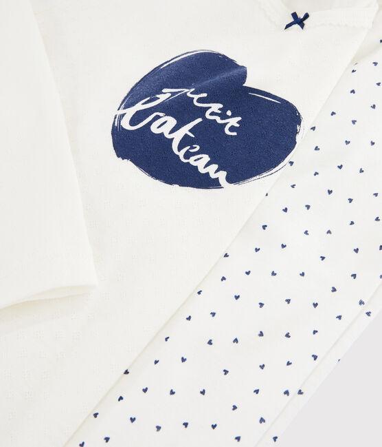 Pyjama mini cœurs petite fille en côte blanc Marshmallow / bleu Medieval