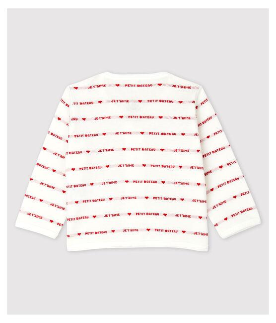 Cardigan Petit Bateau Je t'aime bébé en jacquard en coton biologique blanc Marshmallow / rouge Terkuit