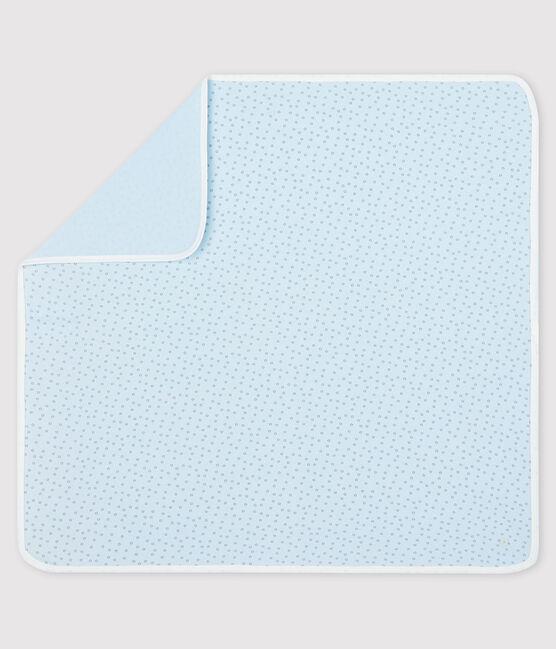 Drap de maternité bébé en côte bleu Fraicheur / gris Concrete